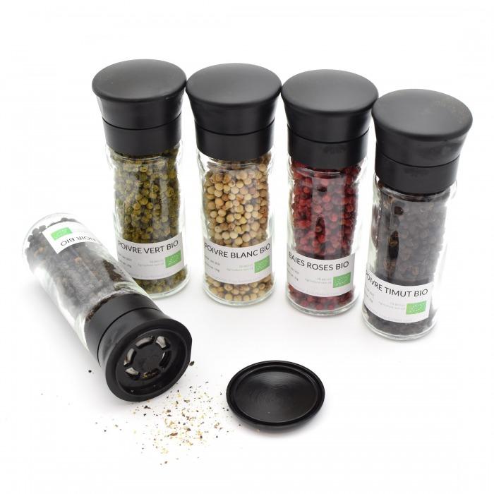 Coffret 5 moulins à poivres Bio